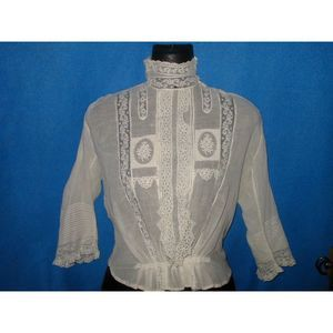 VTG Victorian Lace Embroidered Pintucked Blouse